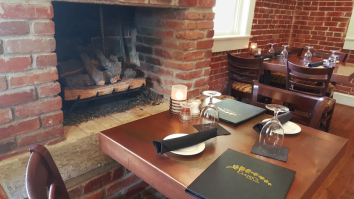 Table by the fireplace