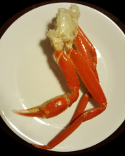 One cluster of fresh-caught snow-crab legs